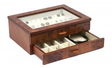 Gianluca Luxury Briar Wood Case Cufflink and Jewelry Box