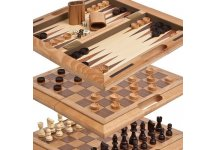 Chambers Street Wooden Chess, Checkers & Backgammon Combination