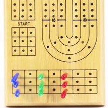 Triple Track Wooden Cribbage Board