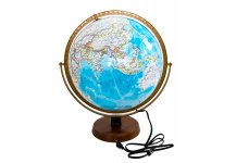 Ocean Blue Deluxe Glossy Raised Relief Globe with Lighting 16""