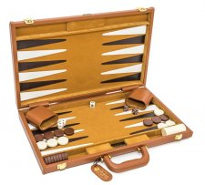 Madison Avenue Genuine Leather Backgammon Set 18""