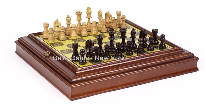 Elite staunton chessmen bellagio chess board from italy 108 308 bello games new - Chess board display case ...