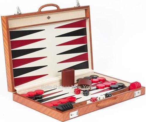 Francesco Luxury Leather & Briar Wood Backgammon Set From