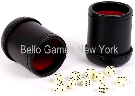 Two Leatherette Dice Cups With 10 Dice
