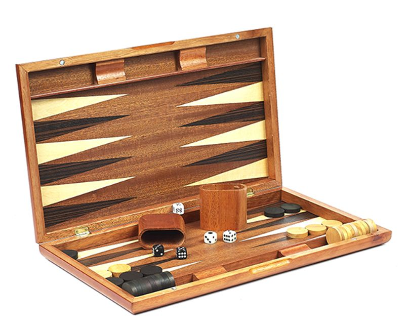 Gramercy Park Deluxe Walnut & Burl Backgammon Set