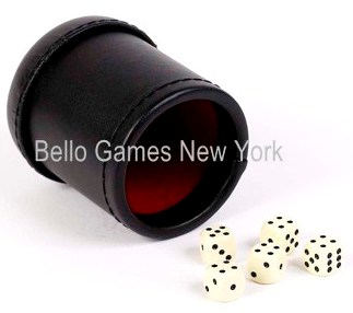 Red & Black Leatherette Dice Cup With 5 Dice