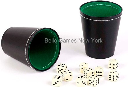 Two Green & Black Leatherette Dice Cups with 10 Dice