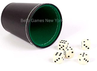 Green & Black Leatherette Dice Cup With 5 Dice