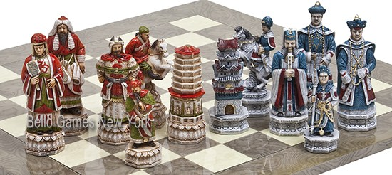 Great Wall of China Luxury Hand Painted Chessmen from Italy