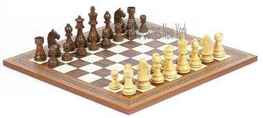 Tournament Wooden Staunton Chessmen & Fulton St. Chess Board