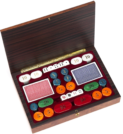 Marsala Poker Chips and Card Set from Italy